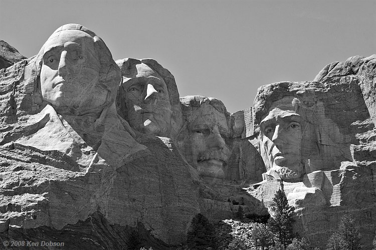 Mount Rushmore - Black and White